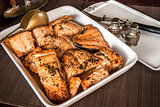 Dish with grilled salmon