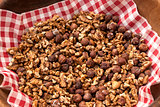 Roasted hazelnuts and walnuts