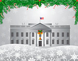 Washington DC White House Christmas Scene Illustration