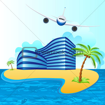airplane over tropical island