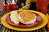 Peanut butter and banana on a rice cake