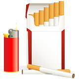 cigarette pack and red cigarette lighter