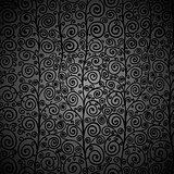 Curly black seamless pattern