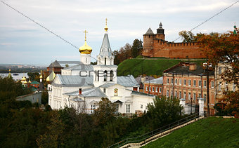 Autumn view of Church Elijah the Prophet and Kremlin Nizhny Novg