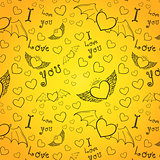 love you seamless black on yellow