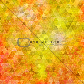 Abstract orange triangle background with curls