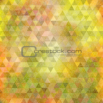 Abstract yellow green triangle background with curls