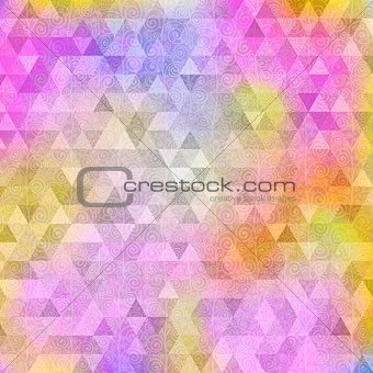 Abstract yellow pink triangle background with curls