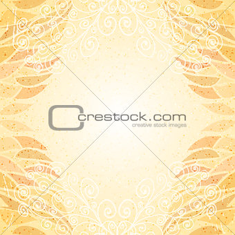 Abstract bright beige floral card vertical curly