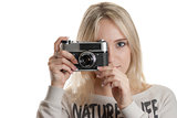 young beautifull girl with vintage camera