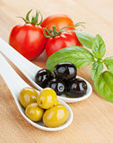 Olives, tomatoes and basil