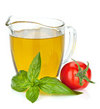 Olive oil, tomato and basil leaves