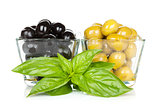 Black and green olives with basil