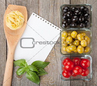 Blank notepad paper for recipes