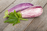 Fresh ripe eggplants