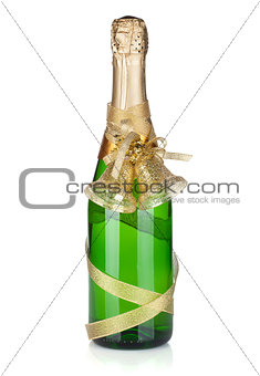 Champagne bottle with christmas decor