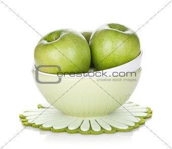 Green apples in fruit bowl