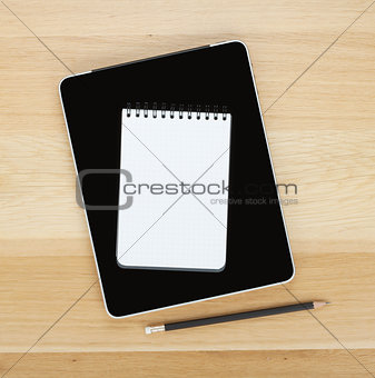 Touch screen tablet computer, notepad and pencil
