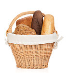 Picnic basket with various bread