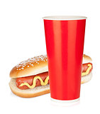 Fast food drink and hot dog