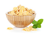 Fresh corn flakes in bowl