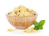 Fresh corn flakes in bowl