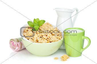Fresh corn flakes with milk