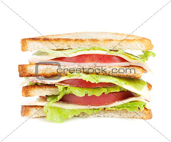 Toast sandwich with meat and vegetables