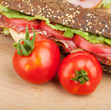 Ripe tomatoes and sandwich