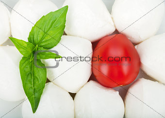 Small pieces of mozzarella, cherry tomato and basil