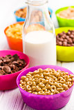various cereals and milk