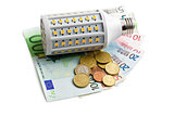 LED lightbulb with euro money