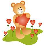 Teddy Bear in the Love Garden
