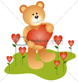 Teddy Bear in the Love Garden