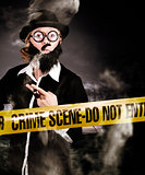 Sherlock Holmes detective at crime scene