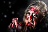 Halloween horror. Zombie in fear from evil thing