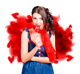 Valentines day woman eating heart candy