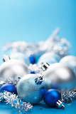 blue christmas balls and decoration