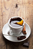hot chocolate with orange and cinnamon