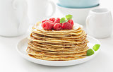 pancakes with honey and raspberry
