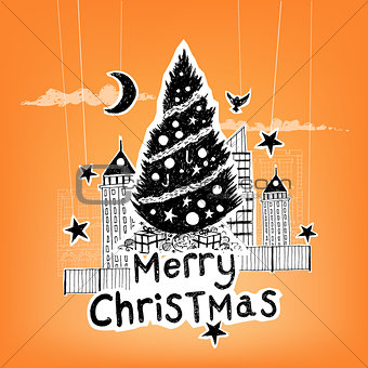 Paper Craft Christmas Vector
