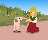girl and a lamb