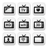 TV set, 3d, HD vector buttons