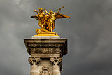 Alexandre III Bridge Pillar Close Up against Clouds, Paris, Fran