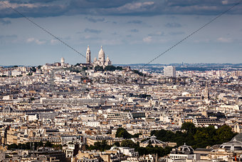 Aerial View on Montmartre Hill and Sacre-Coeur Church, Paris, Fr