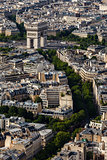 Aerial View on Arch de Triumph from the Eiffel Tower, Paris, Fra