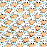 Design seamless pattern with cartoon sheeps