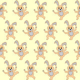 Design seamless pattern with cartoon rabbits