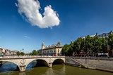 River Seine and Saint-Michel Bridge in Paris, France
