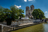 Seine River and Notre Dame de Paris Cathedral, Paris, France